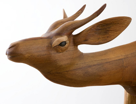 Dido Crosby carved wooden Antelope, detail of headwith inset pebble eyes