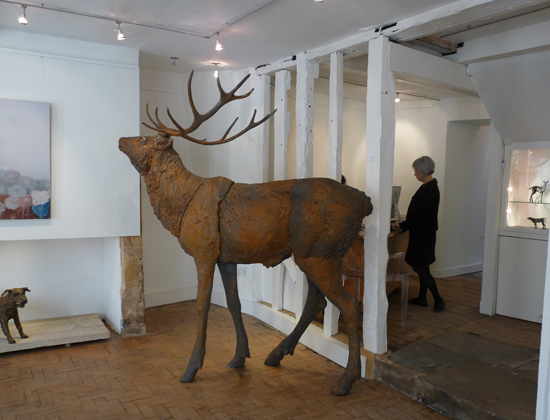 Dido Crosby, cast iron stag in the Campden Gallery, Chipping Campden