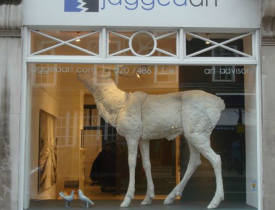Dido Crosby White plaster Stag in the window of Jagged Art Gallery, Marylebone, London