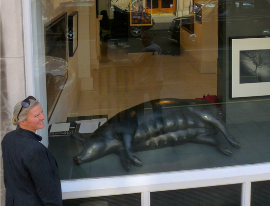 Dido Crosby Large Black Sow in the window of Jagged Art, Marylebone, London