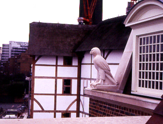 stone falcon on Shakespeare's Globe building, Southwark, London