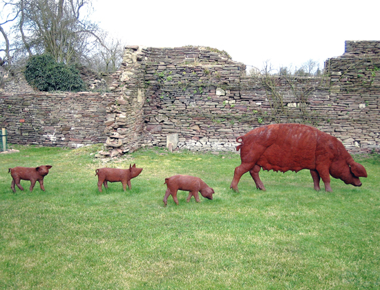 cast iron sow and piglets, life size, Acton Court, Iron Acton, Bristol