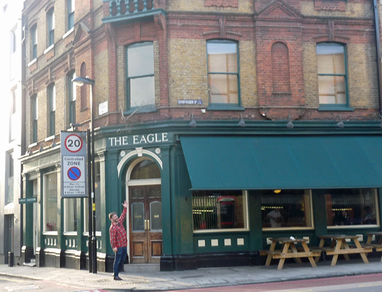 Dido Crosby welded steel eagle on the Eagle Public House, Farringdon Road London